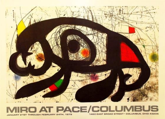 Joan Miró. Cartel Exposición Miró at pace/Columbus (1979)