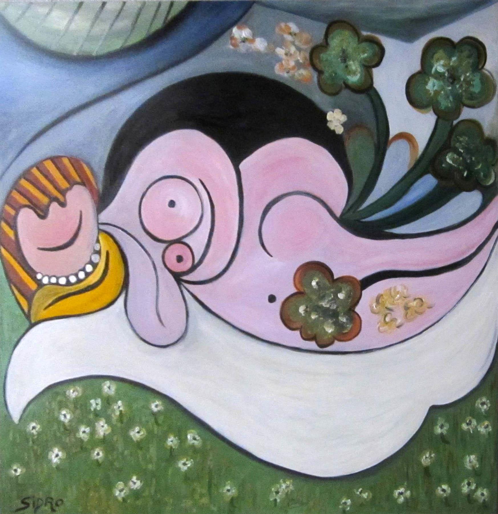 Maria Esteve Sidro Mujer Desnuda Entre Flores 2007 Subasta