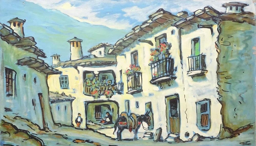 Pintores de pueblos, campos de cultivo y campesinas